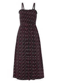 Czarna sukienka bonprix midi, na ramiączkach, z nadrukiem