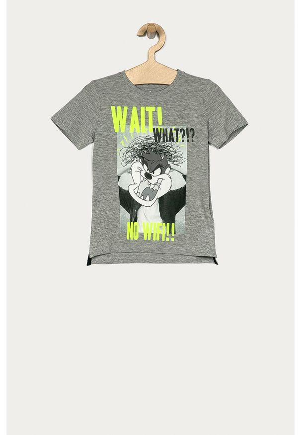 Szary t-shirt Name it casualowy, na co dzień, z okrągłym kołnierzem, z nadrukiem