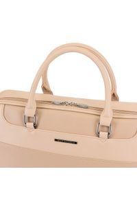 Beżowa torba na laptopa Wittchen w kolorowe wzory, biznesowa