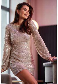 Awama - Błyszcząca taliowana sukienka mini z cekinami. Materiał: materiał, elastan. Styl: wizytowy. Długość: mini