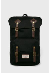 Doughnut - Plecak American Vintage Cordura. Kolor: czarny. Wzór: paski. Styl: vintage