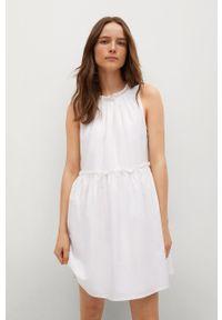 mango - Mango - Sukienka MIKONOS. Kolor: biały. Materiał: tkanina, materiał, bawełna. Wzór: gładki. Typ sukienki: rozkloszowane