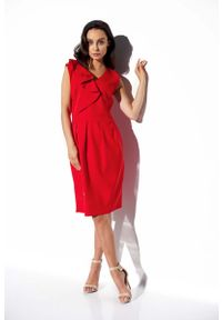 Lemoniade - Czerwona Elegancka Wizytowa Sukienka z Pionową Falbanką. Kolor: czerwony. Materiał: poliester, elastan. Styl: wizytowy, elegancki