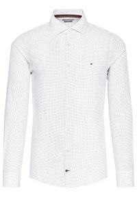 Tommy Hilfiger Tailored Koszula Poplin Print 2 Color TT0TT08202 Biały Slim Fit. Kolor: biały. Wzór: nadruk