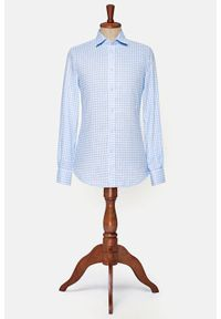 Lancerto - Koszula Błękitna w Kratę Orlean. Kolor: niebieski. Materiał: tkanina, len. Wzór: kratka. Sezon: lato. Styl: klasyczny, vintage