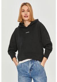 Czarna bluza Calvin Klein Jeans z kapturem, gładkie
