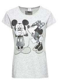 Shirt z nadrukiem Myszki Miki bonprix jasnoszary melanż z nadrukiem. Kolor: szary. Wzór: nadruk, melanż