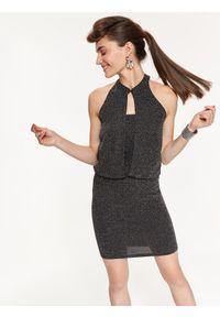 Czarna sukienka TOP SECRET w kolorowe wzory, na jesień