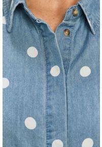 Niebieska koszula Vila na co dzień, klasyczna, długa, z klasycznym kołnierzykiem