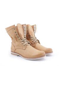 Botki Zapato z cholewką za kostkę, w ażurowe wzory, na spacer
