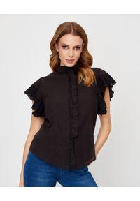 M.A.B.E - Czarna bluzka z koronką Ines. Kolor: czarny. Materiał: koronka. Wzór: koronka