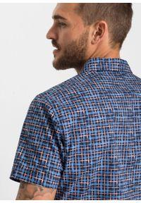 Niebieska koszula bonprix z krótkim rękawem, z nadrukiem