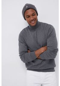 Lee - Sweter. Typ kołnierza: golf. Kolor: szary. Materiał: bawełna, dzianina. Długość rękawa: długi rękaw. Długość: długie