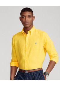 Ralph Lauren - RALPH LAUREN - Żółta koszula z lnu Slim Fit. Typ kołnierza: button down, polo. Kolor: żółty. Materiał: len. Długość rękawa: długi rękaw. Długość: długie. Wzór: haft #1