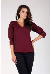Czerwona bluzka z długim rękawem Nommo z dekoltem w kształcie v