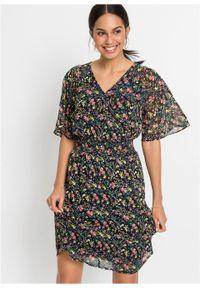 Sukienka z nadrukiem bonprix czarny w kwiaty. Kolor: czarny. Wzór: kwiaty, nadruk