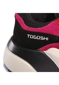 Różowe półbuty Togoshi na płaskiej podeszwie, z cholewką