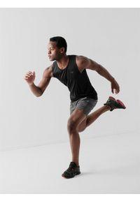 4f - Spodenki treningowe szybkoschnące męskie. Kolor: szary. Materiał: tkanina, skóra, włókno