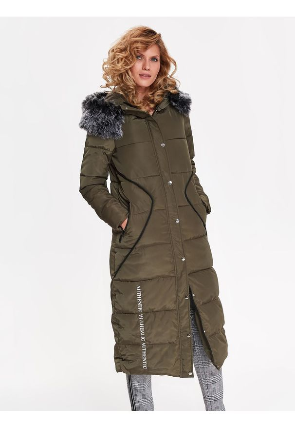 Brązowa kurtka TOP SECRET długa, z kapturem, na zimę, z haftami