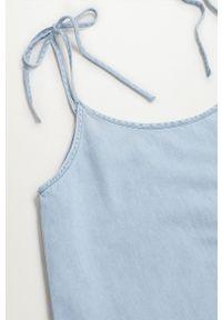 mango - Mango - Sukienka DALIA. Kolor: niebieski. Materiał: materiał, bawełna. Długość rękawa: na ramiączkach. Typ sukienki: rozkloszowane
