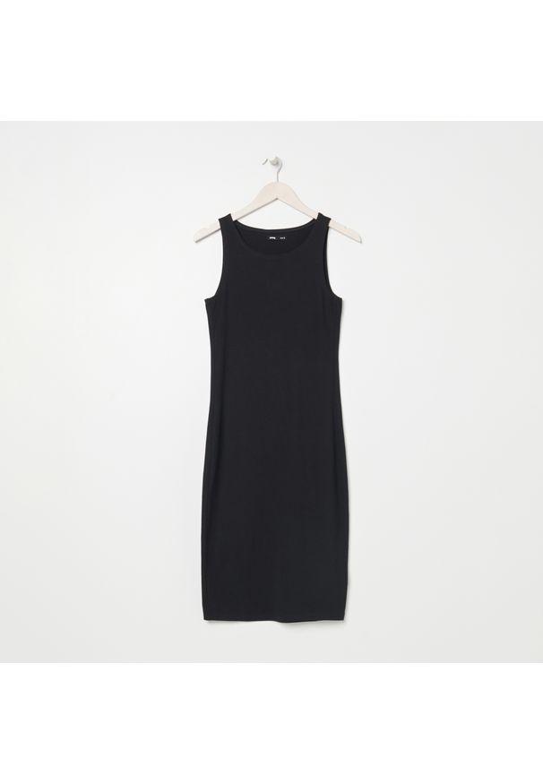 Sinsay - Bawełniana sukienka - Czarny. Kolor: czarny. Materiał: bawełna