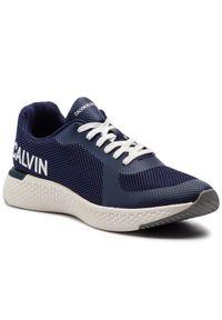 Niebieskie sneakersy Calvin Klein Jeans na co dzień, z cholewką