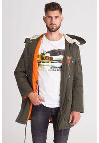 Płaszcz Armani Exchange w kolorowe wzory, z kontrastowym kołnierzykiem