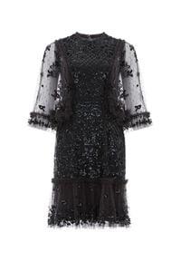 NEEDLE & THREAD - Czarna sukienka z cekinami Melody. Kolor: czarny. Materiał: koronka. Wzór: kwiaty, aplikacja, koronka. Typ sukienki: dopasowane. Styl: vintage. Długość: mini