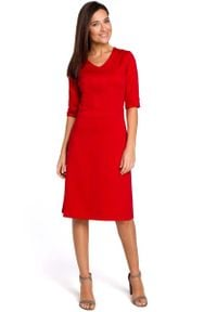 MOE - Czerwona Sukienka Midi O Kroju Litery A z Rękawami do Łokcia. Kolor: czerwony. Materiał: poliester, bawełna. Długość: midi