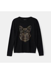 Czarny sweter Mohito z nadrukiem