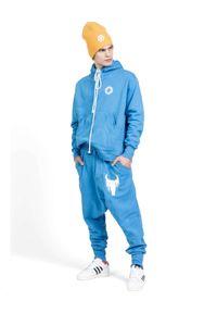 ROBERT KUPISZ - Niebieska bluza Now Bull. Kolor: niebieski. Materiał: jeans, materiał. Długość rękawa: długi rękaw. Długość: długie. Wzór: nadruk