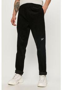 Czarne spodnie Reebok Classic na co dzień, casualowe, gładkie