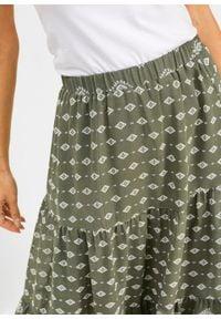 Spódnica z szyfonu bonprix oliwkowo-biały z nadrukiem. Kolor: zielony. Materiał: szyfon. Wzór: nadruk