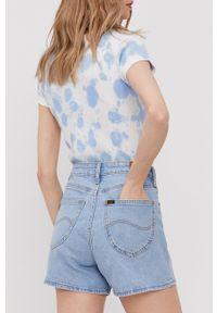 Lee - Szorty jeansowe. Stan: podwyższony. Kolor: niebieski. Materiał: jeans