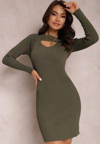 Renee - Ciemnozielona Sukienka Hesiolea. Kolor: zielony. Materiał: wiskoza, dzianina. Długość rękawa: długi rękaw. Wzór: prążki, aplikacja. Długość: mini
