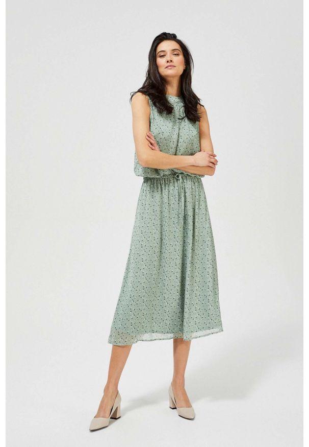 MOODO - Wzorzysta sukienka w stylu boho. Materiał: poliester, guma. Wzór: nadruk, kwiaty. Styl: boho