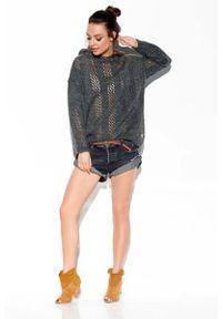 Szary sweter oversize Lemoniade z kapturem, w ażurowe wzory
