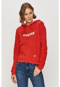 Czerwona bluza Guess długa, na co dzień