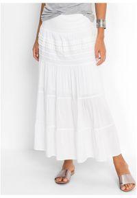 Długa spódnica bonprix biały. Kolor: biały. Materiał: koronka. Długość: długie. Wzór: koronka