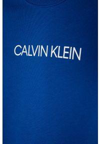 Niebieska bluza Calvin Klein Jeans na co dzień, z nadrukiem, bez kaptura