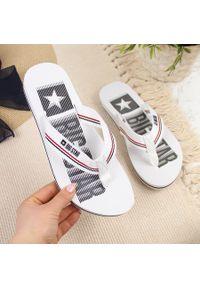 Big-Star - Klapki basenowe plażowe japonki białe Big Star HH274A062. Okazja: na plażę. Kolor: biały. Materiał: materiał. Wzór: paski. Styl: elegancki