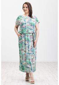 Zielona sukienka Moda Size Plus Iwanek z nadrukiem, oversize