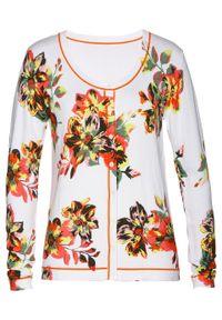 Biały sweter bonprix w kwiaty