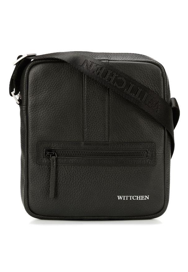 Wittchen - Męska listonoszka skórzana stębnowana mała. Kolor: czarny, srebrny, wielokolorowy. Materiał: skóra. Styl: elegancki, sportowy, casual