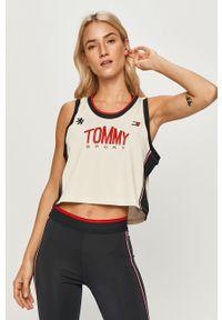 Kremowy top Tommy Sport na co dzień, z nadrukiem, sportowy