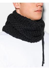 Ombre Clothing - Komin męski A096 - czarny - uniwersalny. Kolor: czarny. Materiał: akryl. Sezon: zima