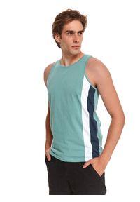 TOP SECRET - T-shirt bez rękawów. Kolor: miętowy. Materiał: bawełna, tkanina, jeans. Długość rękawa: bez rękawów. Styl: sportowy, klasyczny