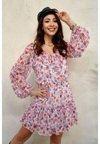 e-margeritka - Sukienka szyfonowa mini z falbanami w kwiaty - 40. Typ kołnierza: dekolt w serek. Materiał: szyfon. Wzór: kwiaty. Styl: elegancki. Długość: mini