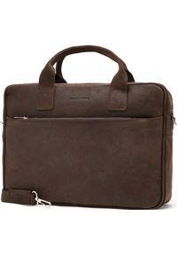 Torba Brdrene Skórzana torba męska na ramię, laptop Brodrene BL12 ciemny brąz. Kolor: brązowy. Materiał: skóra