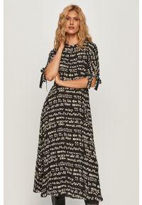 Czarna sukienka Sportmax Code prosta, midi, z krótkim rękawem, casualowa